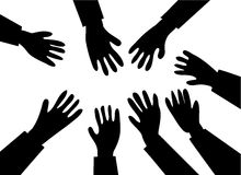 Reaching hands stock illustration