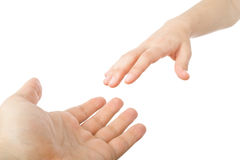 Reaching hands Royalty Free Stock Photo