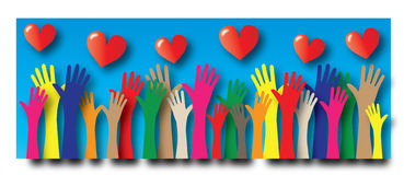 Reaching hands freedom love diversity royalty free illustration