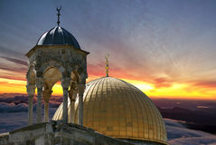 Reaching Heaven. Dome of the Rock at Sunrise in Jerusalem Royalty Free Stock Photo