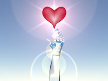 Reaching For Love. Transparent hand reaching out for an illuminated heart Stock Photography