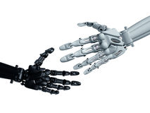 Reaching out. Humanoid robots reaching out to shake hands