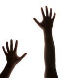 Reaching out. Partially silhouetted hands backlit and on white reaching up as if trapped royalty free stock photo