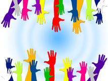 Reaching Out Represents Hands Together And Buddies Stock Image