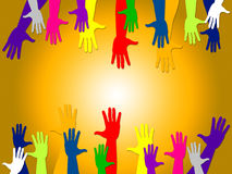 Reaching Out Shows Hands Together And Buddies Royalty Free Stock Photography