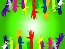 Reaching Out Shows Hands Together And Buddies. Reaching Out Representing Hands Together And Palm