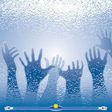Reaching out Your Hand. Helping hands and window glass effects. Vector layered