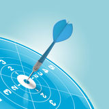 Reaching personal goal. Darts reaching the center of a blue target stock illustration