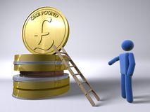 Reaching for the Pound. 3D figure reaching the pound using a ladder Stock Images