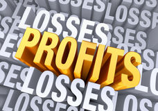 Reaching Profitability. A bold, bright gold PROFITS emerges from a gray background consisting of the word LOSSES repeated many times a different depths Royalty Free Stock Photo