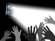 Reaching the sky. Light through the latticed prison window Royalty Free Stock Photo