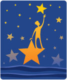 Reaching for Stars. A cartoon image of a person reaching up to a star Stock Photography