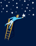 Reaching the stars with a ladder. Cartoon illustration of man climbing a ladder to grab the star or arrange night sky Stock Photos
