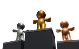 Reaching success together. 3d render of champion icons as first second and third winner Stock Images