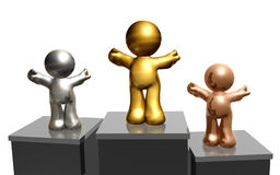 Reaching success together. 3d render of champion icons as first second and third winner Royalty Free Stock Photography
