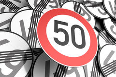 Reaching the 50th birthday illustrated with traffic signs. 3d illustration Reaching the 50th birthday illustrated with traffic signs Royalty Free Stock Images