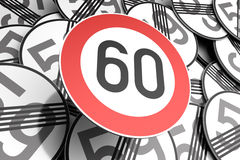 Reaching the 60th birthday illustrated with traffic signs. 3d illustration Reaching the 60th birthday illustrated with traffic signs Royalty Free Stock Image