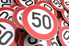 Reaching the 50th birthday illustrated with traffic signs Royalty Free Stock Photography