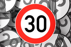 Reaching the 30th birthday illustrated with traffic signs Royalty Free Stock Photos