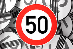 Reaching the 50th birthday illustrated with traffic signs Stock Images