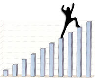 Reaching the top. Person reaching top of graph vector illustration