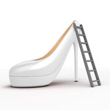 Reaching top of the high fashion by stairs. Stock Photo