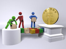 Reaching for the Yuan (China's currency). A team of diversity collaborating to reach China's currency Yuan Royalty Free Stock Image