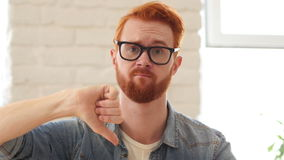 Reaction of Loss,Thumbs Down, Unsatisfied Man with Beard and Red Hairs, Portrait stock video
