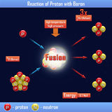 Reaction of Proton with Boron. The reaction of Proton with Boron Royalty Free Stock Photo
