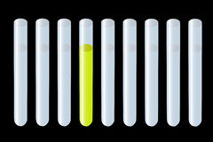 Reaction test tubes. Medical test tubes with negative and positive reaction Royalty Free Stock Images