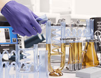 Reaction testing in chemical laboratory science concept background. Reaction testing in chemical laboratory science concept Stock Photo
