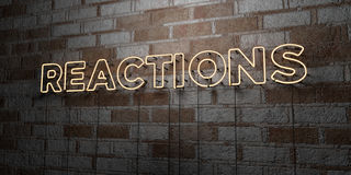 REACTIONS - Glowing Neon Sign on stonework wall - 3D rendered royalty free stock illustration. Can be used for online banner ads and direct mailers Stock Photo