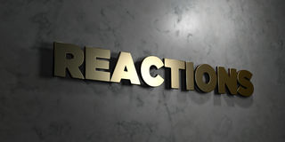 Reactions - Gold text on black background - 3D rendered royalty free stock picture. This image can be used for an online website banner ad or a print postcard Royalty Free Stock Photography