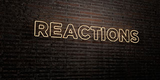 REACTIONS -Realistic Neon Sign on Brick Wall background - 3D rendered royalty free stock image. Can be used for online banner ads and direct mailers Stock Illustration