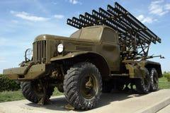 Reactive missile military installation on the vehicle. Soviet technique since World War II. Katusha Stock Photo