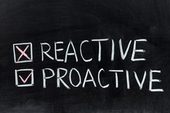 Reactive or proactive. Chalk drawing - Reactive or proactive Stock Image