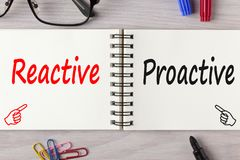 Reactive or proactive written on notebook concept. Reactive or Proactive written on notebook on wooden desk with marker pen and glasses.Business Concept.Top view Royalty Free Stock Photos