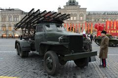 Reactive system of volley fire at the base of the car Studebaker. MOSCOW, RUSSIA - NOVEMBER 7,2013: Reactive system of volley fire at the base of the car Royalty Free Stock Photo