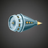 Reactive turbine. Modern reactive turbine on background. Mechanic detail royalty free illustration