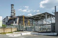 Reactor de energía atómica de Chernóbil y sarcófago Imagenes de archivo
