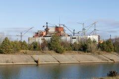 Reactor 5 en 6 van Tchernobyl stock afbeelding
