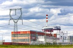 Reactor of nuclear power plant Temelin in Czech Republic. Cloudy sky royalty free stock images