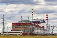 Reactor of nuclear power plant Temelin in Czech Republic. Cloudy sky stock photography