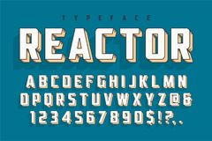 Reactor retro display font popart design, alphabet, letters. And numbers. Swatch color control royalty free illustration