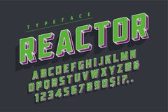 Reactor retro display font popart design, alphabet, letters. And numbers. Swatch color control Royalty Free Stock Photography