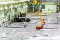 Reactor room. fuel loading machine, equipment maintenance and replacement of the reactor fuel elements. Fuel loading machine of nuclear reactor at the Kursk Stock Photos