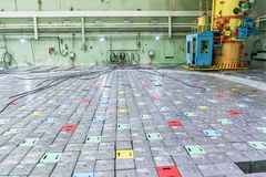 Reactor room. Nuclear reactor lid, equipment maintenance and replacement of the reactor fuel elements. Lids of fuel assemblies of nuclear reactor at the Kursk Royalty Free Stock Photography