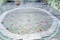 Reactor room. Nuclear reactor lid, equipment maintenance and replacement of the reactor fuel elements. Lids of fuel assemblies of nuclear reactor at the Kursk Stock Image