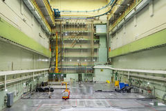 Reactor room RBMK. Massive reactor lid, equipment maintenance and replacement of the reactor fuel elements Royalty Free Stock Photo