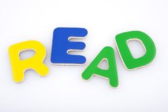 Read. Made with multicolored magnetic letters Royalty Free Stock Photos